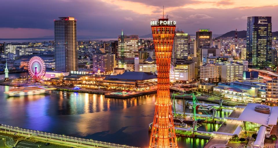 神戸市中央区の夜景(ポートタワーからみた神戸モザイクガーデン)
